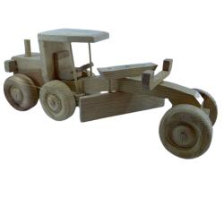 Greyder İş Makinası El Yapımı Ahşap Tahta Oyuncak veya Dekoratif Amaçlı